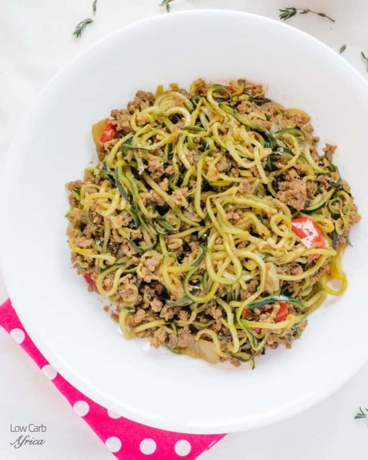 Zucchini Noodles Ground Beef stir fry