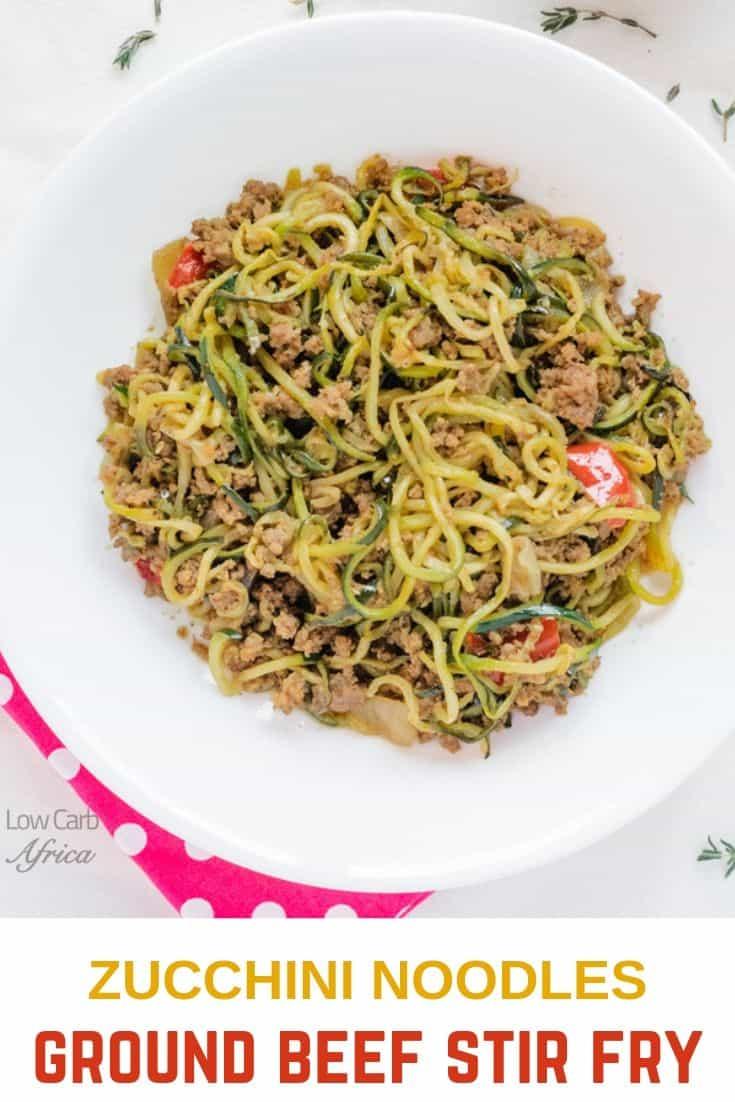 Zucchini and Ground Beef Stir Fry