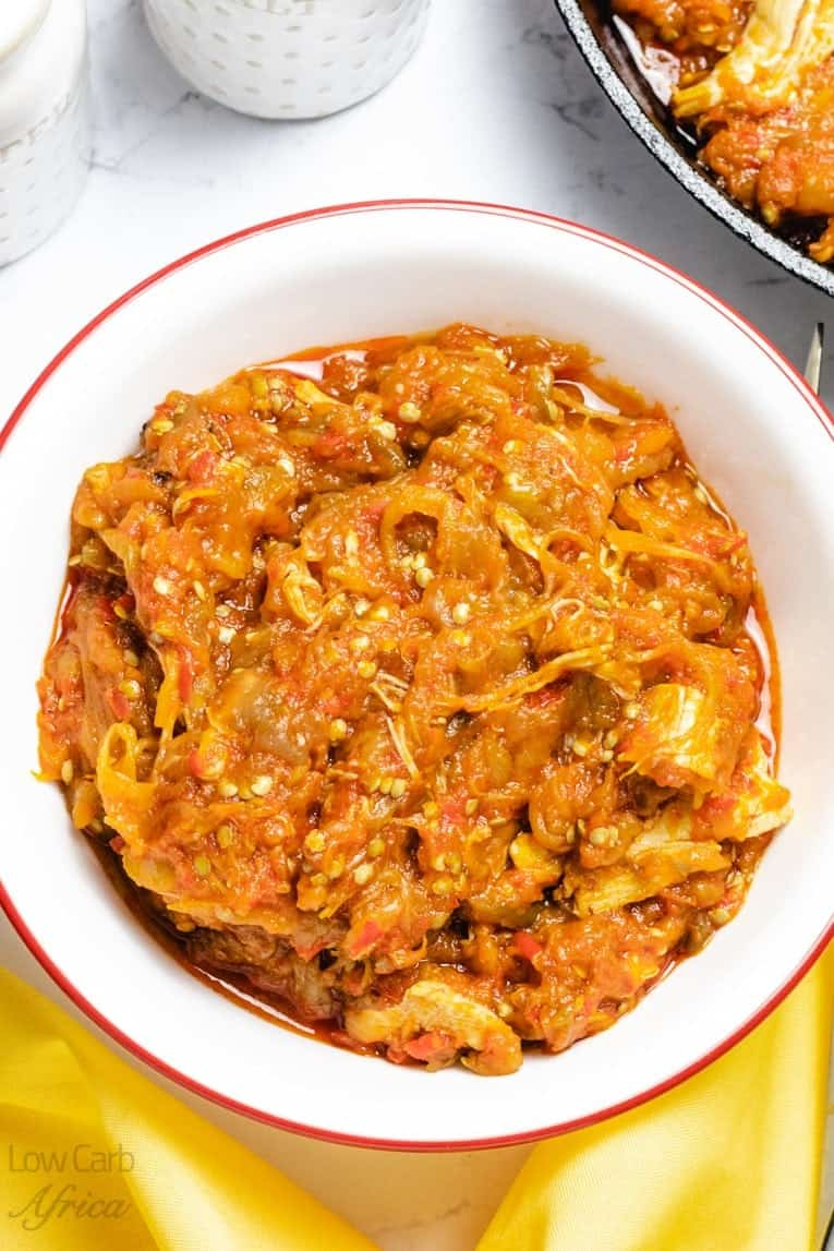 picture of eggplant chicken stew served and ready to eat