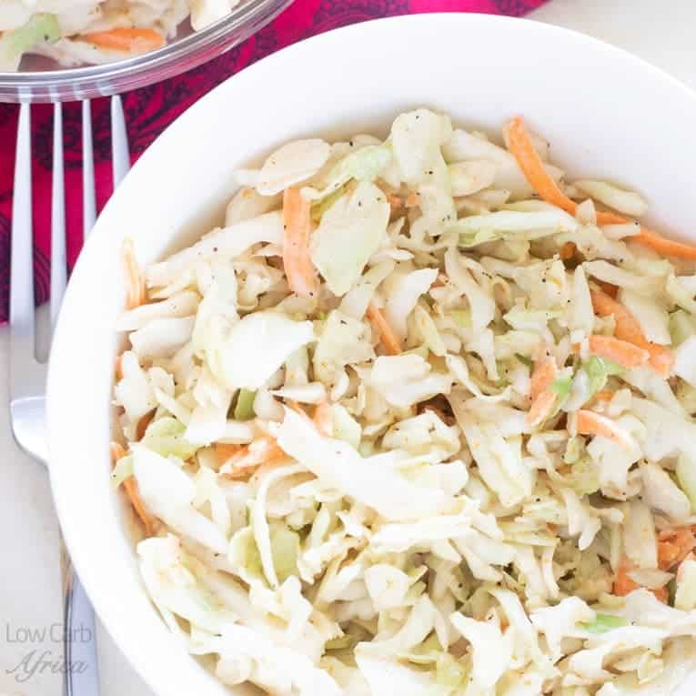 low carb spicy coleslaw is a delicious and healthy side dish