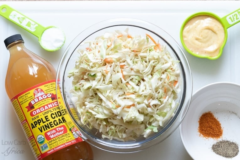 all the ingredients needed for spicy low carb coleslaw