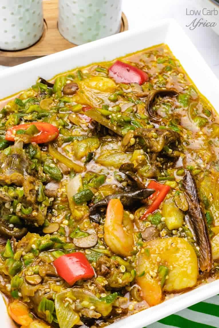 large serving bowl of okra soup