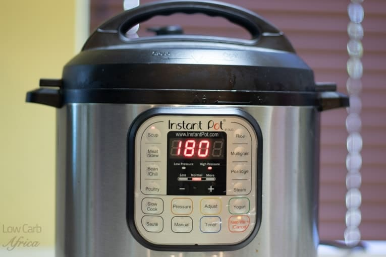 the instant pot should be set to 180 minutes for the beef bone broth