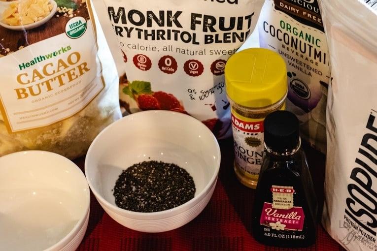 ingredients to make vanilla chia seed protein smoothie pinterest