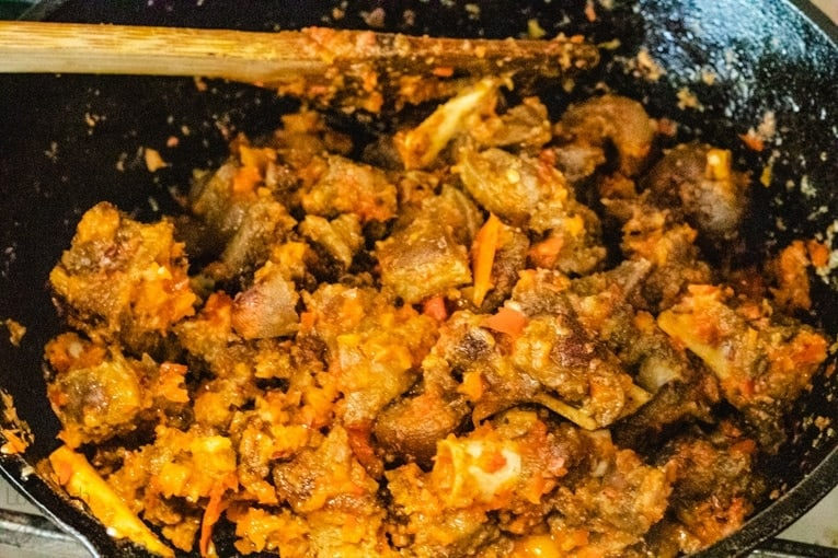 asun-peppered goat meat final prep stage