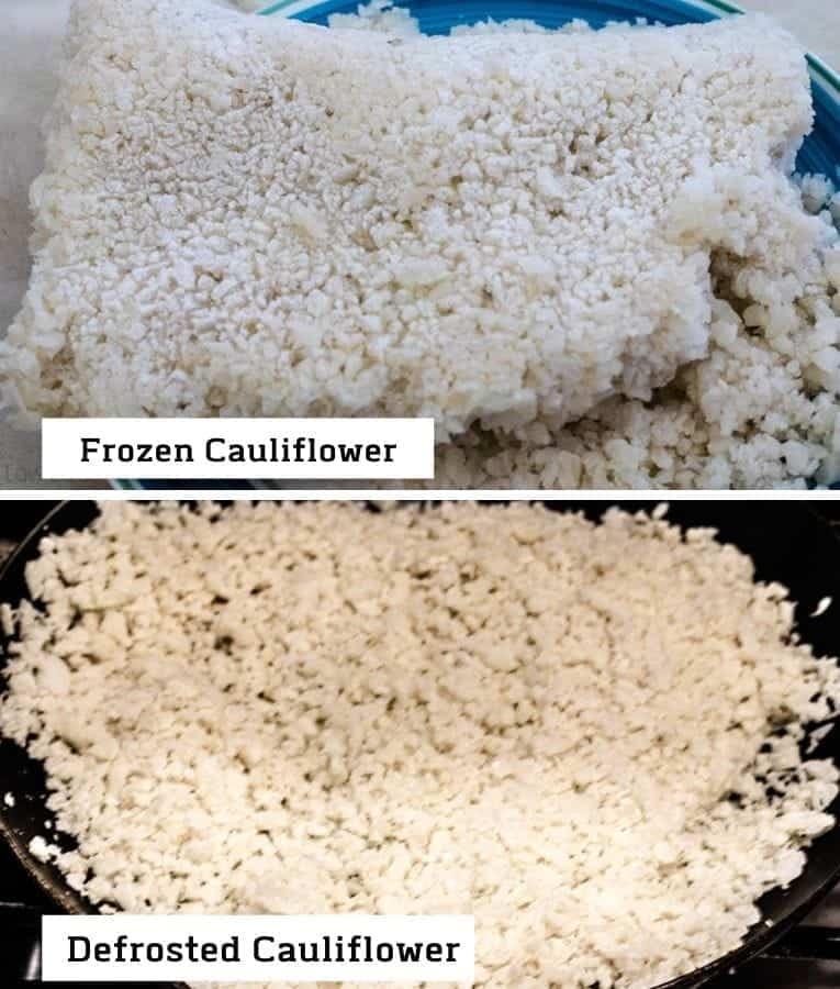 Cauliflower rice frozen and defrosted