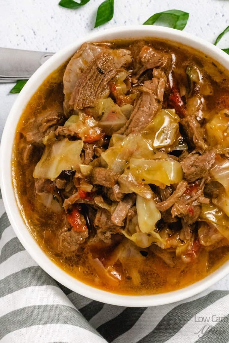 flat lay of Vegetable Beef Soup with Cabbage