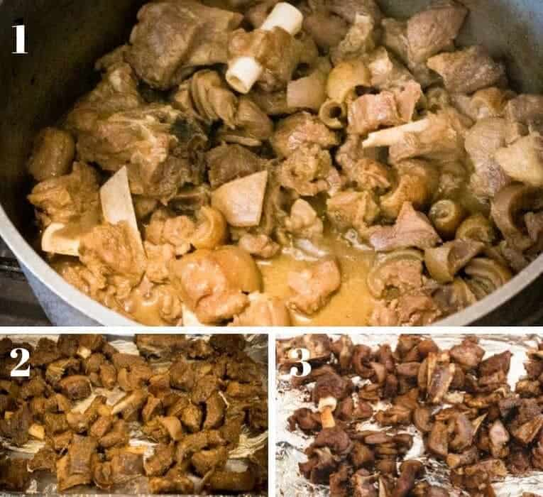 asun-recipe-peppered goat meat stages of preparation