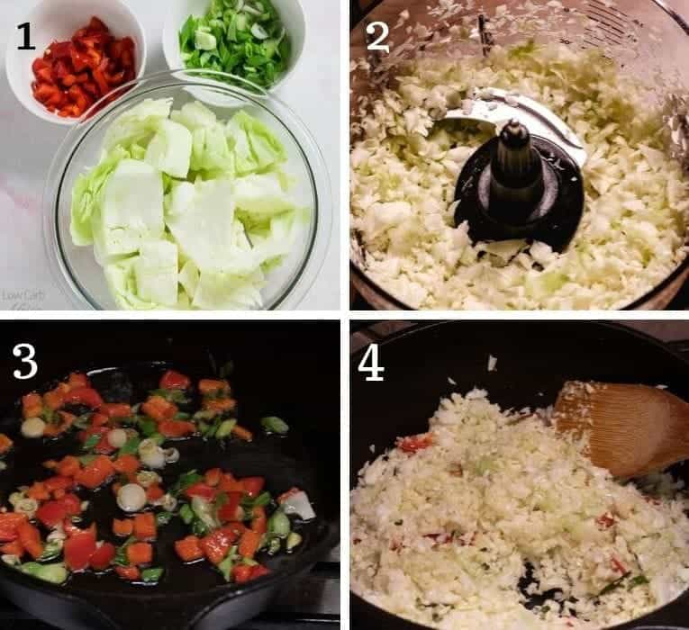 prep steps for riced cabbage