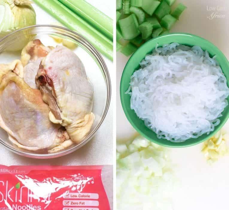 Shirataki Chicken Noodle Soup prep 1