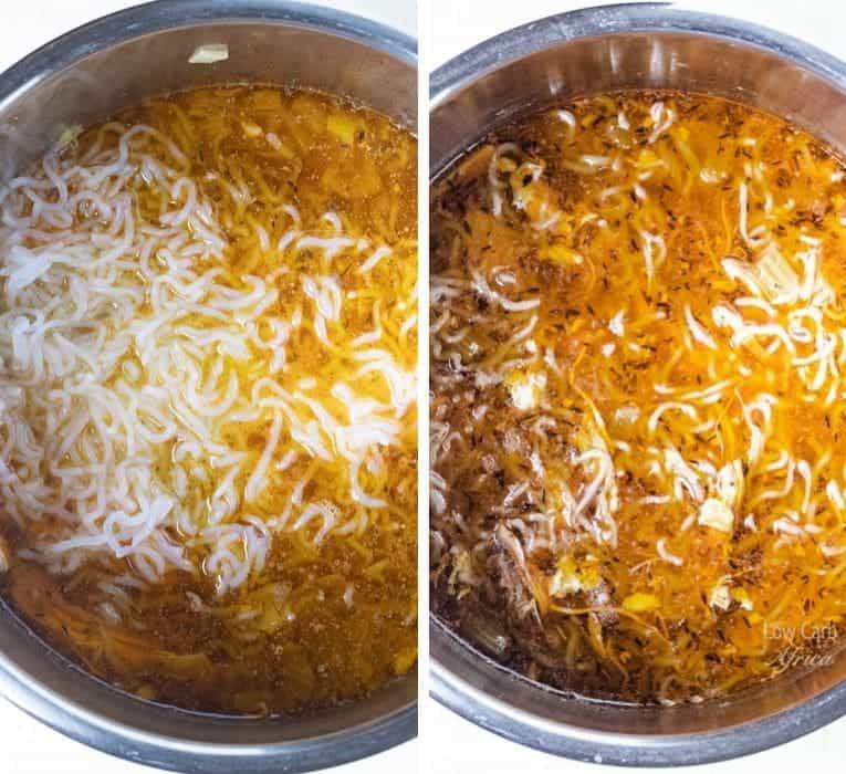 Shirataki Chicken Noodle Soup prep 4