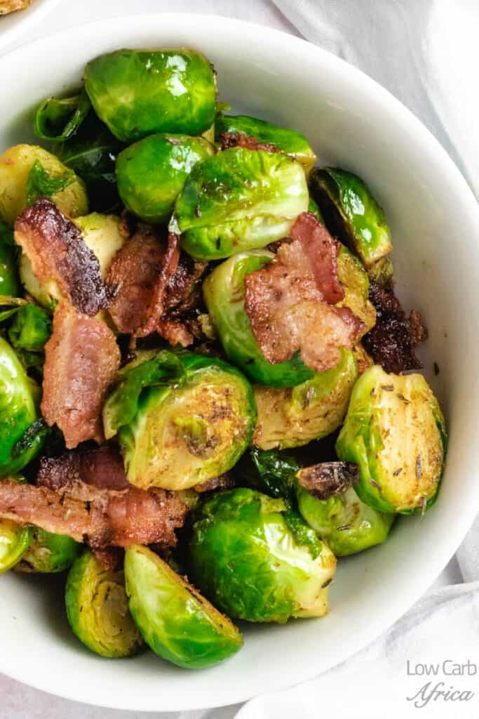 Stir-Fried Brussels Sprouts With Bacon close up image