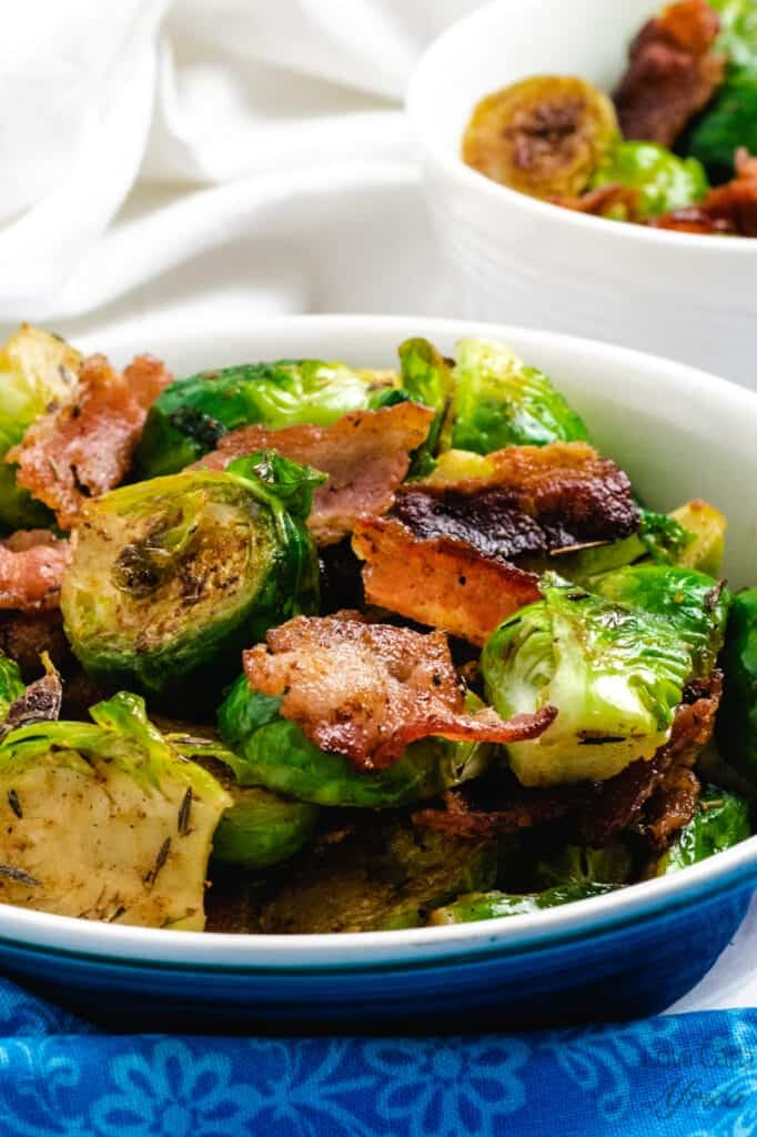 Pan Fried Brussels Sprouts With Bacon side view