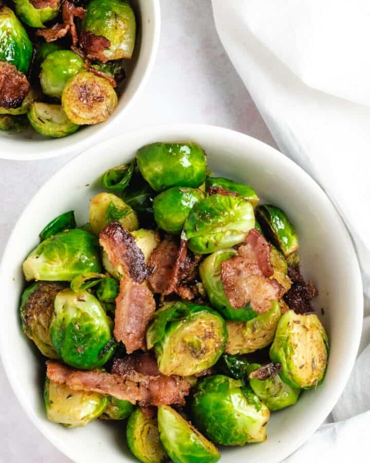 Pan Fried Brussels Sprouts With Bacon top image