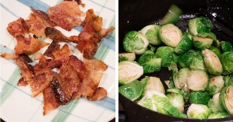 Stir-Fried Brussels Sprouts With Bacon second prep steps