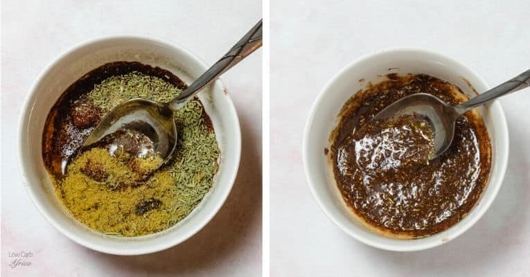 spices mixed in marinade for baked chicken drumsticks
