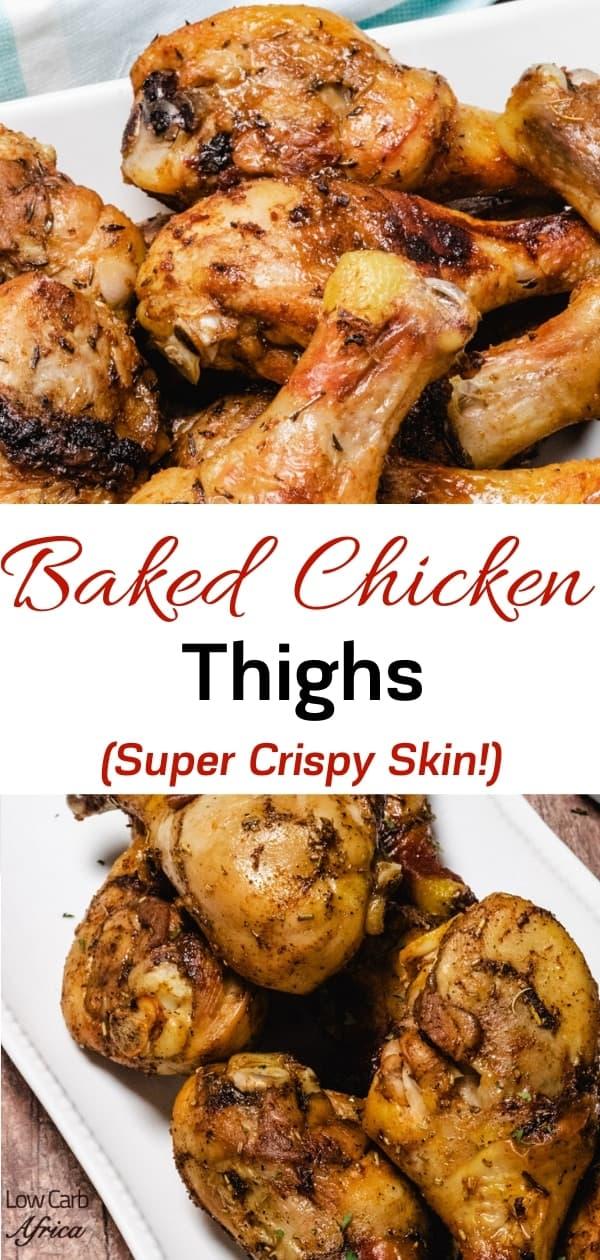 Crispy skin baked chicken drumsticks pinterest image