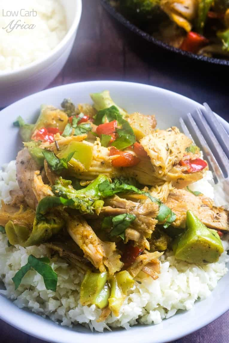Leftover Turkey Stir Fry served with cauliflower rice