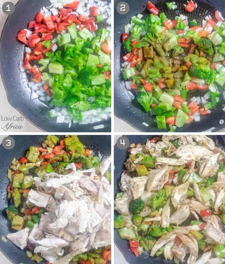 Leftover Turkey Stir Fry prep collage