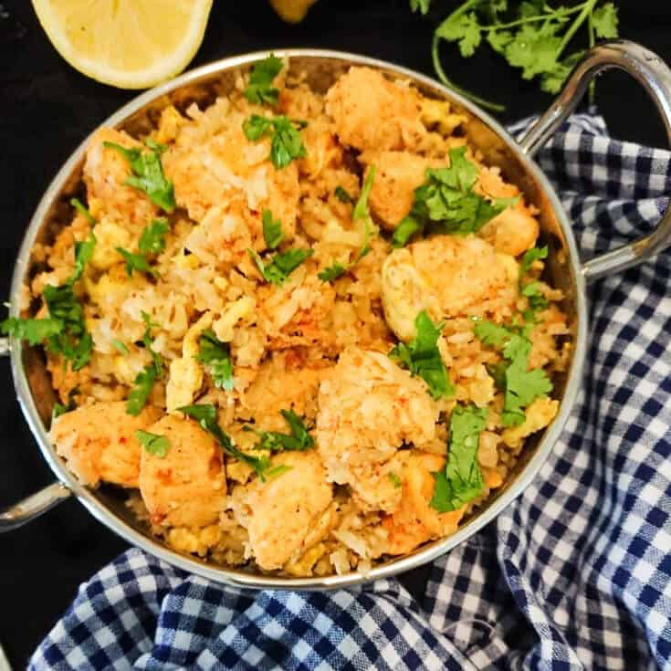 Cauliflower rice with masala chicken