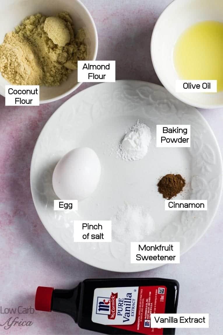 Ingredients used in making 90 second Cinnamon Keto Bread