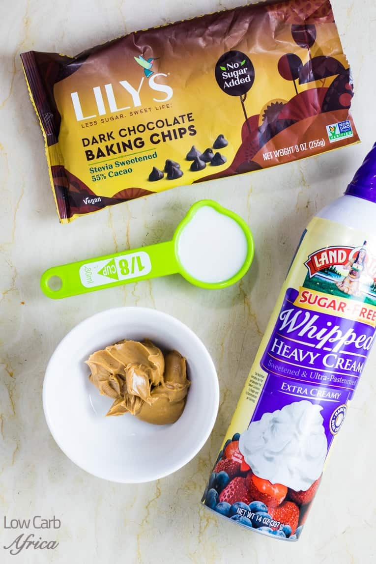 Ingredients used to make Keto Peanut Butter Chocolate Pudding